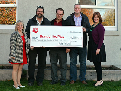 Reliance Brantford gives cheque to United Way Brant